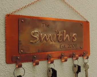 7th anniversary gift, Copper key holder, Family Name,  Copper sign,  last name sign, copper keyholder, Made to order