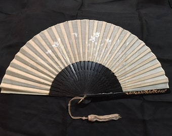 Antique Japanese Export Floral Hand Painted Organdy Hand Fan Carved Wood Sticks Victorian Estate Geisha Maiko