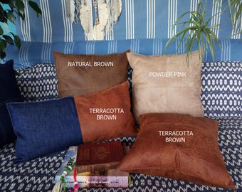 Fast Shipping/Piecewise square design terracotta brown thick vegan leather pillow with decorative stitches and insert-1pcs-15color optional