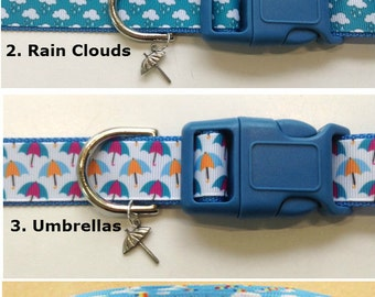 Umbrella, Rain boots, rain clouds, Rainboeadjustable dog collar Umbrella or rain boot charms LEASH & key fobs available
