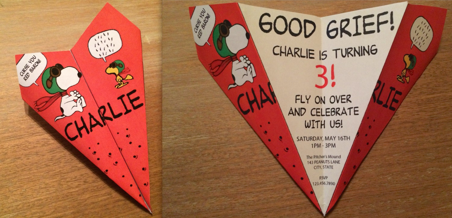 Snoopy Inspired Red Baron Paper Airplane Invitation