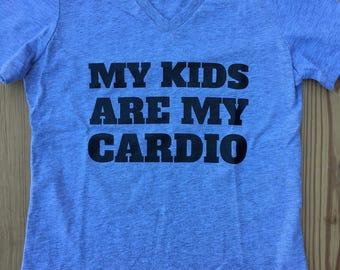 My Kids Are My Cardio Ladies V-Neck T-shirt