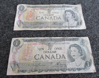 Canadian Currency/1973 Canadian Money/Canada One Dollar Bills