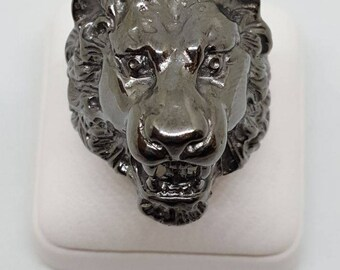 men lion ring, lion signet, silver lion ring, animal ring, male, king of the beasts