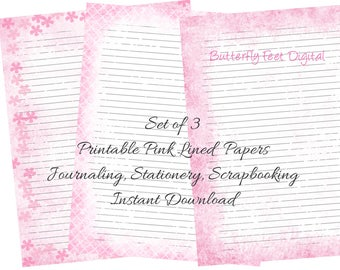 Pink Printable Journal Pages, Printable Stationery, Lined Paper, Letter Size, Set of 3, Instant Digital Download
