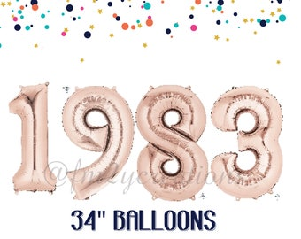 35th birthday decorations | 1983 Balloon Banner | 35th Birthday ROSE GOLD Number Balloons | 35th birthday for her | 35th Birthday Banner