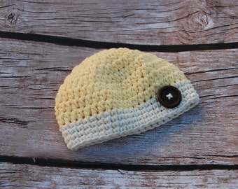 sale! Baby boy hat, hat for boys with button, newborn, crochet beanie for boys, photo prop, hat with wooden button, ready to ship