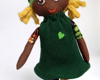Rag Doll Green, Heart, Afro, single hat, 40cm