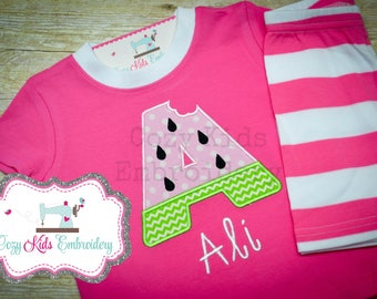 Summer Pajamas, Girl's Summer Pajamas, Summer PJ, Watermelon Pajamas, Custom Pajamas, Monogram Pajamas, Vacation Pajamas
