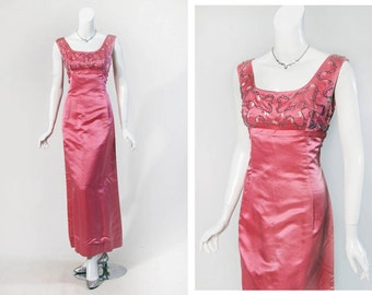 60s Hot pink, beaded bodice A-line gown