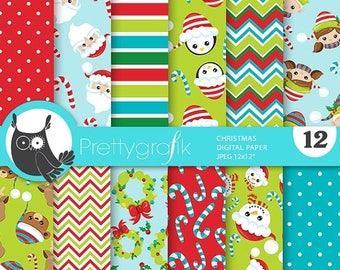 80% OFF SALE 80 Percent 0FF Sale Christmas digital paper, Santa Claus christmas papers commercial use, kawaii scrapbook papers, scrapbooking