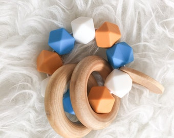 Wooden Teether Natural Teether Ring Teether Infant Toy Baby Toy Montessori Toy Waldorf Toy Silicone Teether Silicone Bead Teether Food Grade