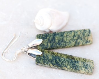 Green Snakeskin Jasper Earrings, Natural Stone Green Earrings, Black & Green Jasper Earrings, Rectangular Earrings, Forest Green Earrings,