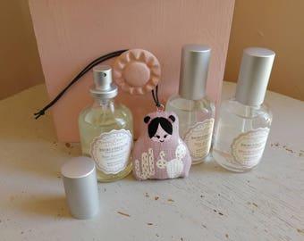 Poupettes à parfumer lin gris peinte de cactus - brume parfumée six paarfum au choix