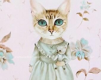 Cat Art Print cat wall art, cat decor, cat illustration, cat picture cat gift for cat lover girl room wall decor tabby cat oil painting