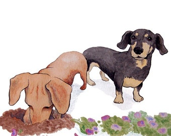 Dirty Dachshunds Note Cards - Set of 5 Blank Cards