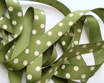 7/8 Dotted Grosgrain Ribbon - Willow Green with Ivory Dots