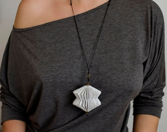 Book Art Necklace - Paper Necklace - Paper Art - Statement Necklace