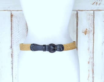 Vintage woven tan jute rope/chord braided belt/faux leather/canvas belt/braided chord belt