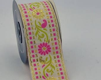 to order! 10 m wide jacquard embroideries flower width 50 mm