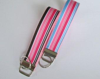 Preppy Stripes Lanyard Keychain for Women, Cool Lanyards for Women, Preppy Stripes Keychain Lanyard, Cute Wristlet Lanyard, Cute Key Fobs