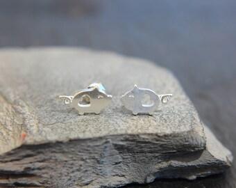 Pork pig pig stud earrings in sterling silver also for children