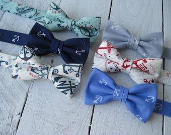 Boys Nautical Bow Tie~Boys PreTied Bow Tie~Boys Anchor Bow Tie~Wedding Tie~HoBo Ties~Cotton Bow Tie~Wedding Bow Tie