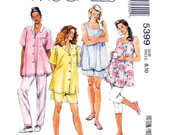 Maternity Sewing Pattern McCalls 5399 Casual Maternity Shirt Tank Top Pants Shorts, Trousers Womens Sewing Pattern Size 8 10 or 10 12 UNCUT