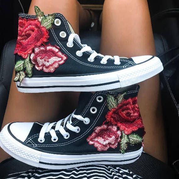 She transformed her simple white Dainty Chucks with geometric designs and  colorful embroidery.