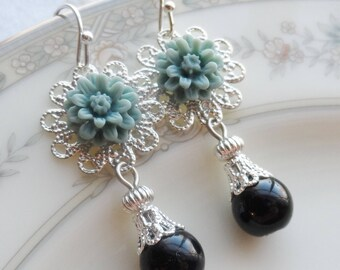75% Off Price Sale, Teal Blue,  Mum Flower, Silver Filigree, Glass Black Bead