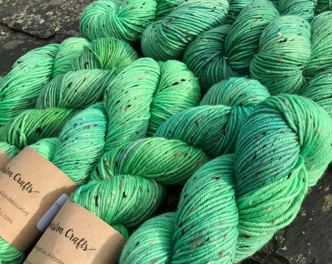 "100g donegal tweed merino DK, hand dyed in Scotland, green ""Nessie"""