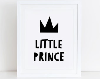 Little Prince Art Print, Scandinavian, Instant Download, Printable Art, Digital Print, Sweet Little Prince Print, Nursery Wall Art, Prince