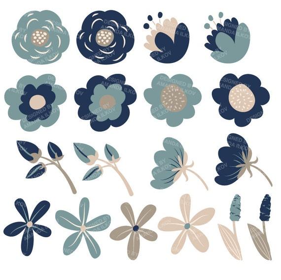 Premium Navy Blue Floral Clipart Flower Vectors