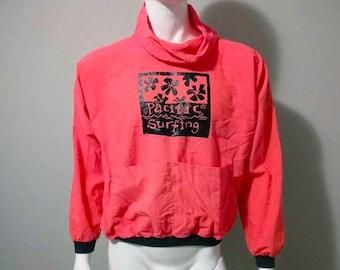 Vintage Pacific Surfing Windbreaker - Pullover - Neon Pink - Size Small/Medium