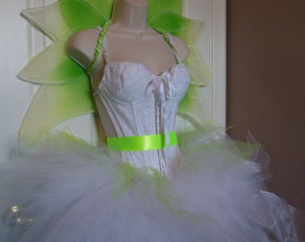 Adult Fairy Costume, Tulle Skirt, Corset, Wings Sz M 32