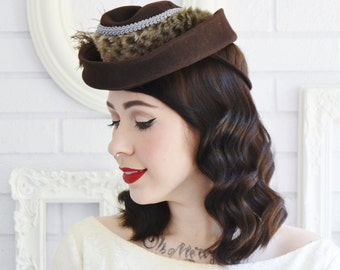 1940s Brown Wool Hat with Faux Fur and Feathers, Vintage and Upcycled
