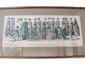 Young Ladies Journal Monthly Panorama of Fashion July 1881 - Framed