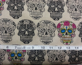 100% cotton Quilting fabric by the 1/2 yard skulls Dia de los muertos, cream color  (FLORAL MATCH on other listing) Day of the dead