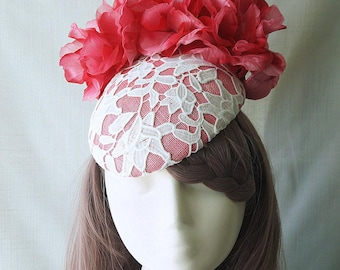 Pink Hat White Lace Silk Flowers Fascinator Beret Wedding Spring Racing Carnival Party Special Occasion Melbourne Cup Kentucky Derby Hat