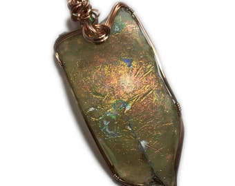 ROMAN GLASS Pendant, Rose Gold Filled, Ancient, Green Yellows and Rare Copper colors, necklace, Jewelry, 3067R2-9