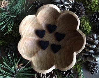 Felted wool hearts, Black, set of 5, Anti-Valentine's Day decor, black hearts, funny valentine, black felt hearts, valentine gift under 20