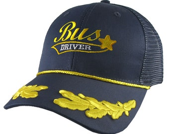 Bus Driver Ballpark Star Yellow School Bus Driver Embroidery on Adjustable Structured Navy Blue Laurels Trucker Cap + Options to Personalize