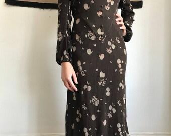 1930s Brown Floral Chiffon Dress