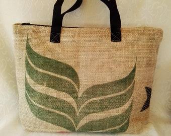 Jute Shoulder bag, Stella leather, handmade, handbag, gift idea, Mother's Day, grandma, birthday gift, gifts for her