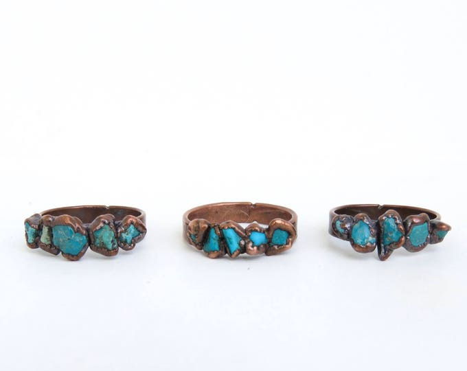 Copper Ring - Turquoise Ring - Boho Ring - Copper Plated Ring - Electroformed Ring - Turquoise Stone Ring