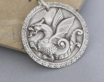 Dragon Necklace , Father's day gift , unisex , Dragon Jewelry , Dragon pendant , Gift for Dad , Men's necklace , Silver Dragon Necklace