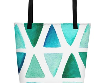 Geometric Large Beach Tote Bag Turquoise & White Travel Bag Carry On Bag Overnight Bag Designer Inspired Custom Tote Bag