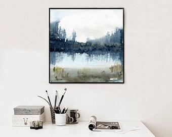 Wald-Aquarell. See und Wald Kunstdruck von original-Gemälde von Annemette Klit. Aquarell-Landschaftsmalerei.