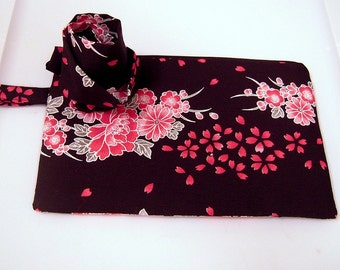 Pink and Black Petals Wristlet with Flower