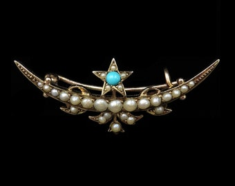 Antique Victorian Turquoise and Pearl Solid Gold Crescent Moon and Star Brooch Pin   Victorian Crescent Moon and Star